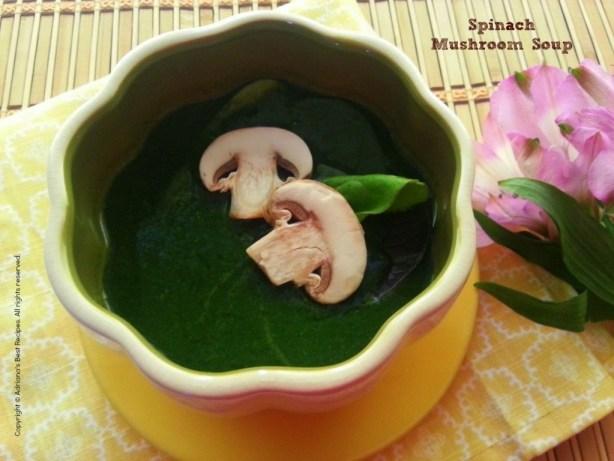 Spinach Mushroom Soup #MushroomMakeover