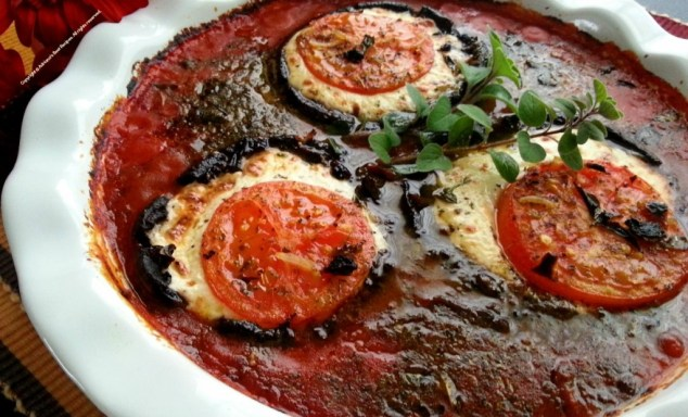 Mushroom Portabella Caprese out of the oven #MushroomMakeover