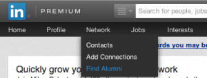 "Click on ""find alumni"" to search for your old classmates"