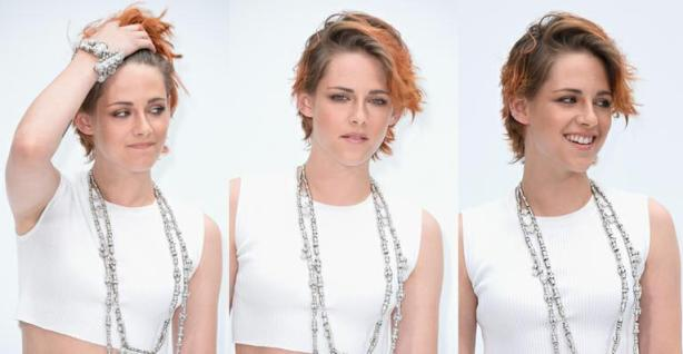 cabelo de Kristen Stewart Fios curtos e laranja