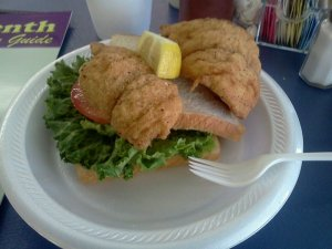 Fried drum sandwich Bayseas
