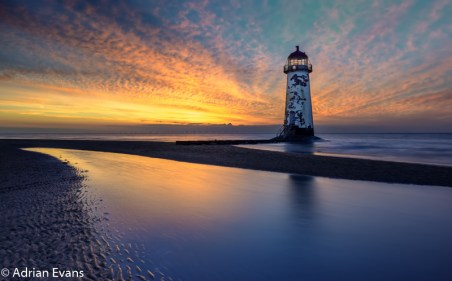 Seascape Sunset at Talacre Lighthouse North Wales UK