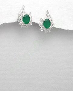 Cercei-argint-smarald-zirconia