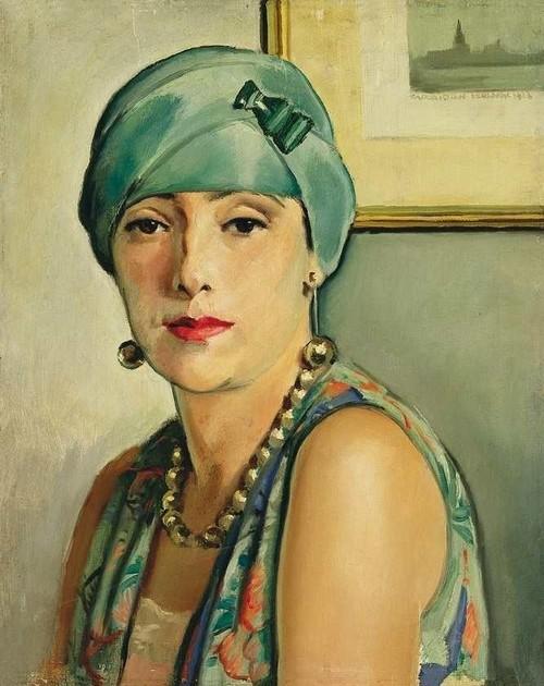 Istvan Zador, Donna con orecchini art deco, 1928