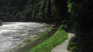 Überfluteter Fußweg neben der Donau
