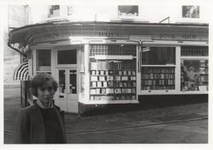 Original photograph of Hall's Bookshop and Sabrina Izzard, proprietor, February 1984.
