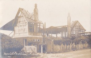 Postcard of the remains of the Nevill Pavilion after it was targeted by Suffragettes on 11th April 1913.
