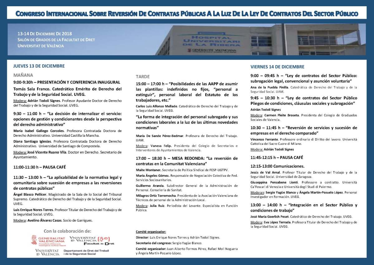 Congreso Reversión de Contratas Públicas a la Luz de la Ley de Contratos del Sector Público