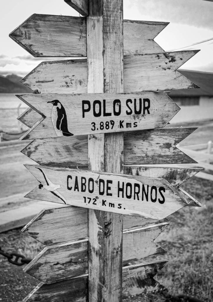 Signpost South Pole Puerto Williams Chile
