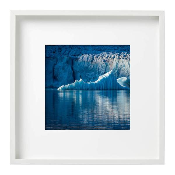 Evening Light on a Glacier Front East Greenland White Square Frame
