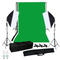 Photography Softbox Lighting Kit with Studio Background Stand Black White Green Backdrop 125W Light Bulbs Single-capped Softbox Lighting Stand Mini Clips