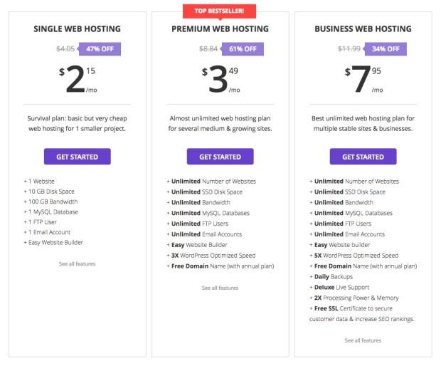 Hostinger Web Hosting Pricing Plans