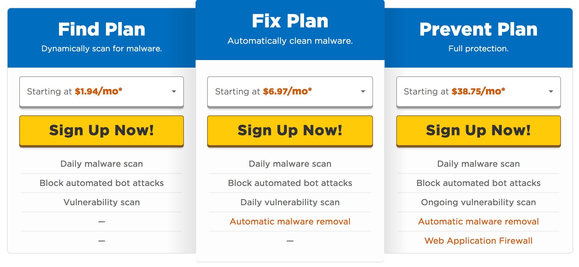 Hostgator Sitelock Plans and Pricing