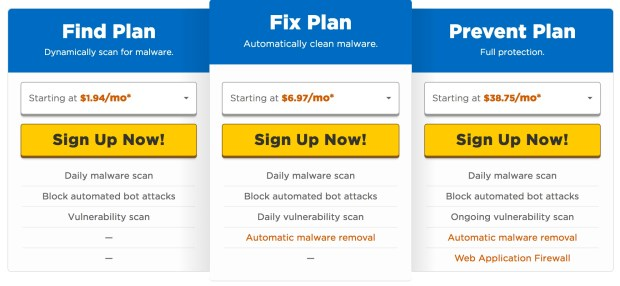 Hostgator Sitelock Plans and Pricing