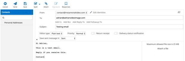 Hostinger Webmail Compose