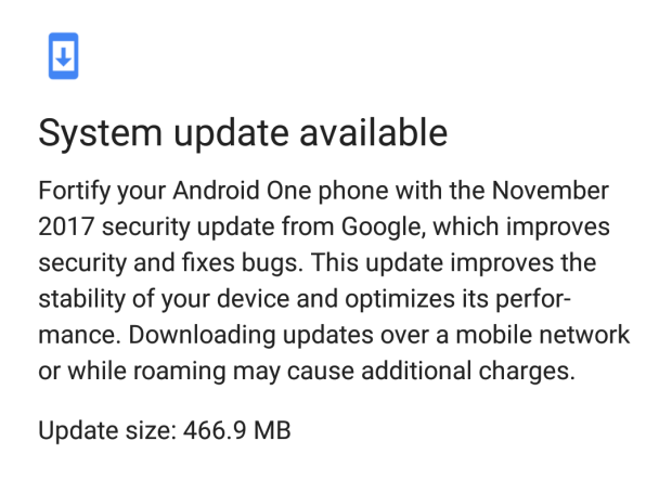 Android One system update December 2017