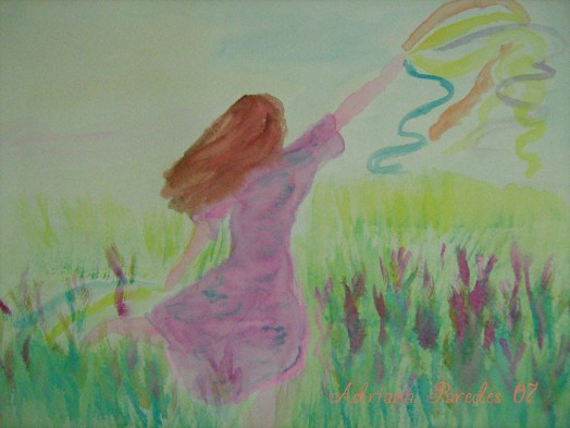 Watercolor of a dancer for dreams... All strings of colors are the dreams she is dancing with