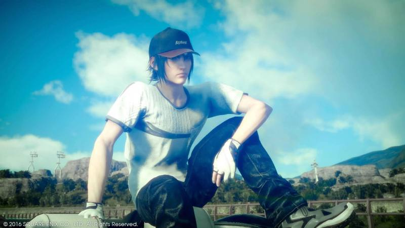 Noct sitting on the car