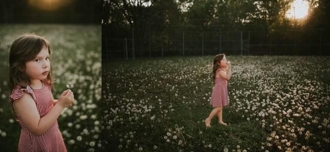 kid in golden light in a dandelion field