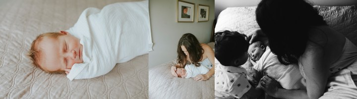 COLLECTION OF IMAGES WITH MOM AND SON LOOKING AT BABY