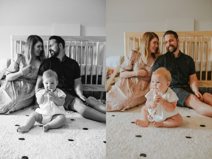BABY ON THE FLOOR WITH HER PARENTS
