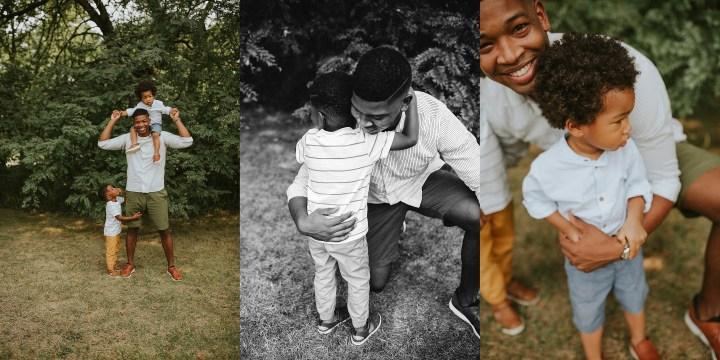 dad hugging his boys