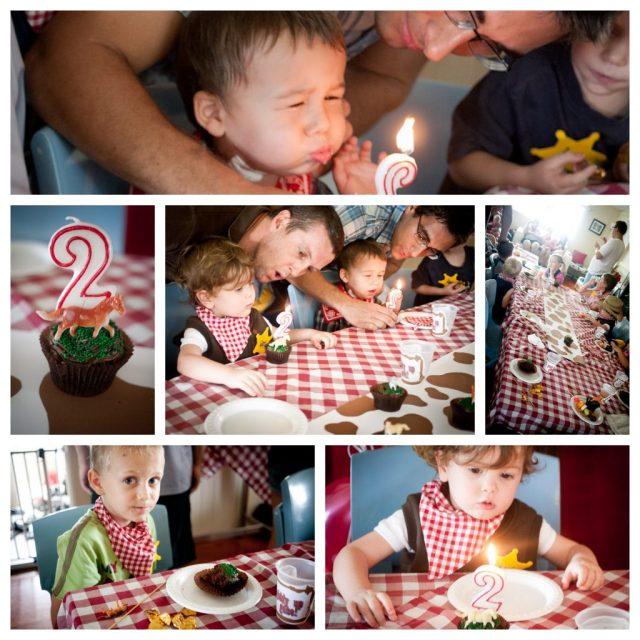 kids cowboy birthday party collage