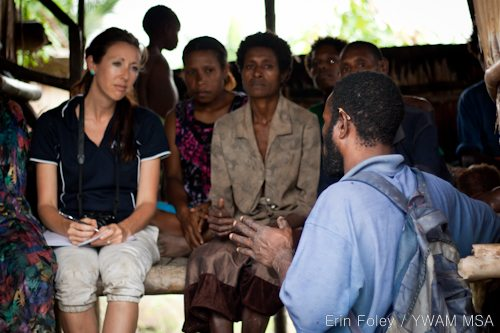 Adriel interviewing women in Bamio, Western Province, PNG.