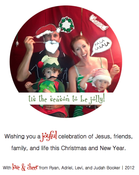 booker family photo booth christmas card image 2012