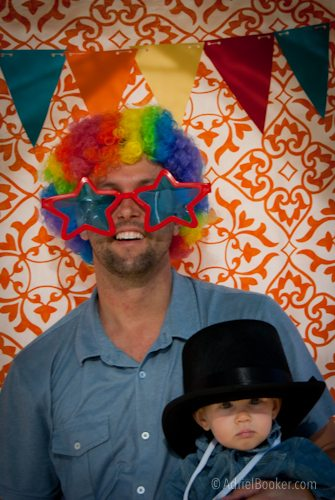 Judah's First Birthday Circus Party photo booth fun
