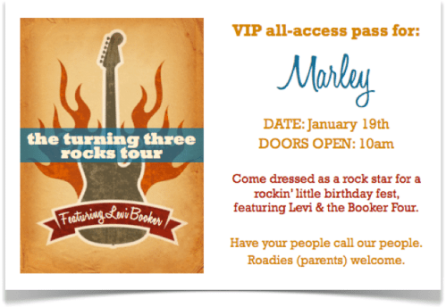Rockstar birthday party invitation