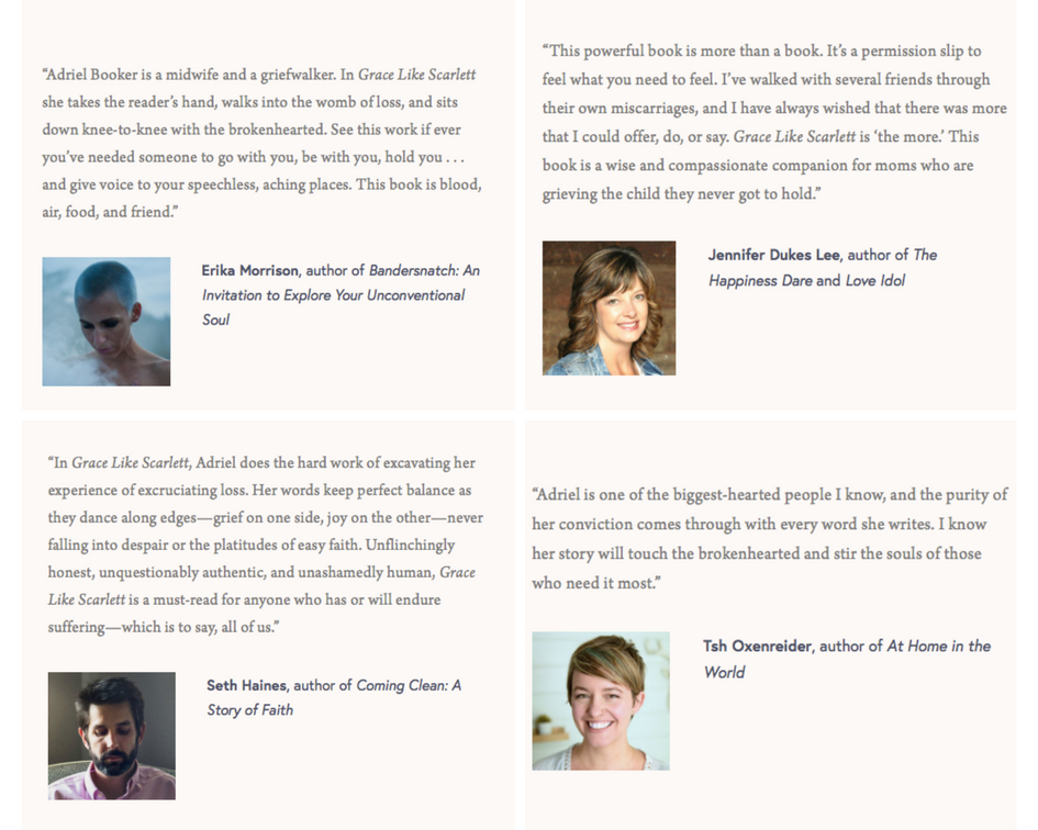 Grace Like Scarlett endorsements - Erika Morrison, Jennifer Dukes Lee, Seth Haines, Tsh Oxenreider