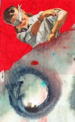 washi paper, paint, repurposed book