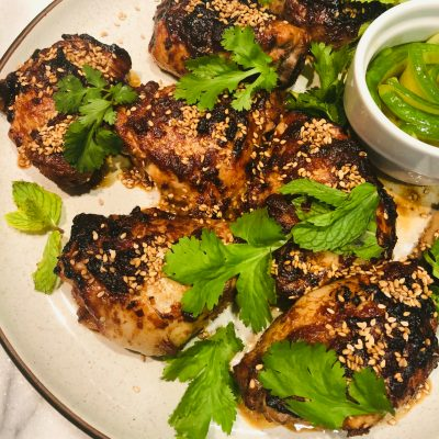 Spicy Miso Chicken with Pickled Cucumber