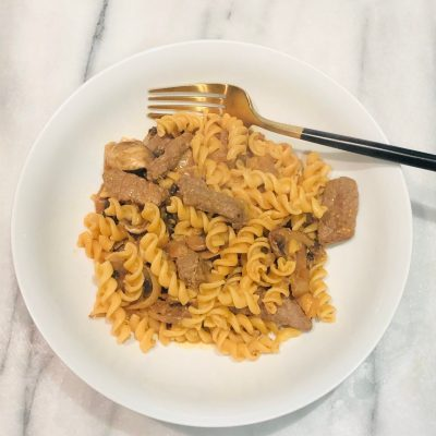 Chickpea Pasta with Beef Stroganoff