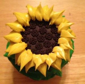 piping sunflower petals