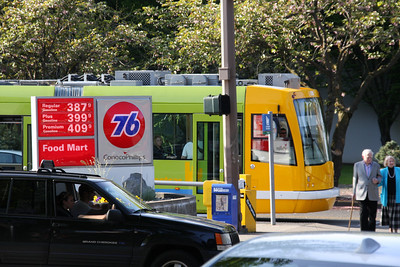 Streetcar, Juxtaposed Against High Gas Prices