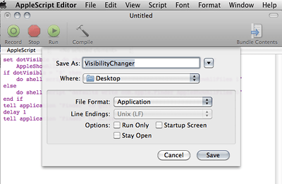 AppleScript Editor Save As Dialog w/ Appropriate Settings