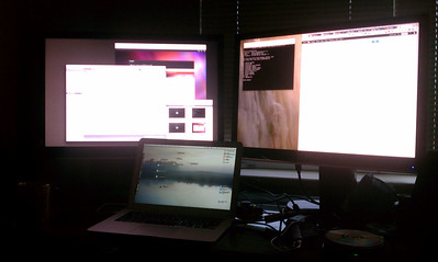 "Macbook Air + 26"" Left Monitor + 26"" Right Monitor (Click for larger image)"