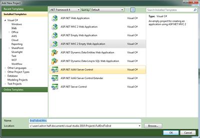 Adding the ASP.NET MVC 2 Project