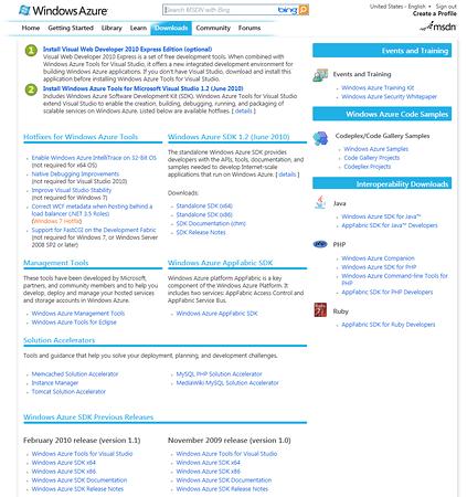 MSDN Windows Azure Site