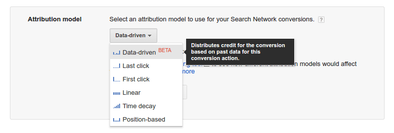 Model d'attribution du dernier clic - menu deroulant