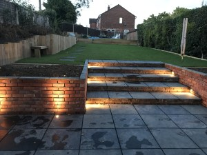 outdoor lighting on stone steps
