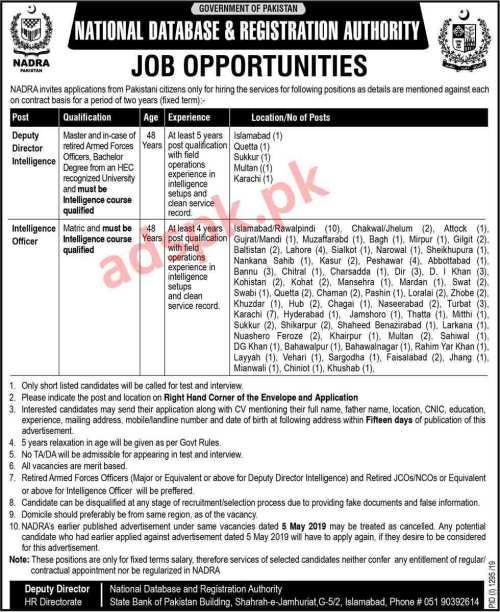 115 Jobs NADRA Pakistan Jobs 2019 for Deputy Director Intelligence and Intelligence Officer Jobs Application Deadline 23-09-2019 Apply Now
