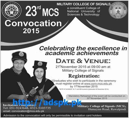 23rd MCS Convocation 2015 of Military College of Signals Rawalpindi Registration Last Date 11-11-2015 Apply Online Now