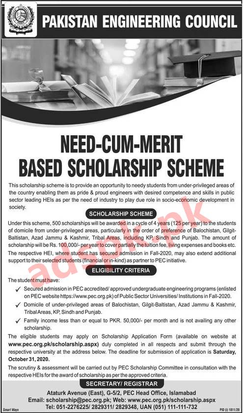 500+ Scholarships PEC Pakistan Engineering Council Need cum Merit Based Scholarship Scheme 2020 for Needy Students Application Form Deadline 31-10-2020 Apply Now