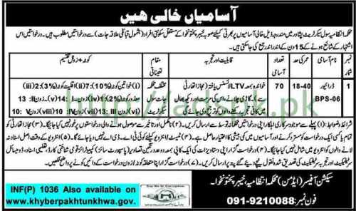 Administration Department KPK Civil Secretariat Jobs 2018 Driver Jobs Application Deadline 15-03-2018 Apply Now