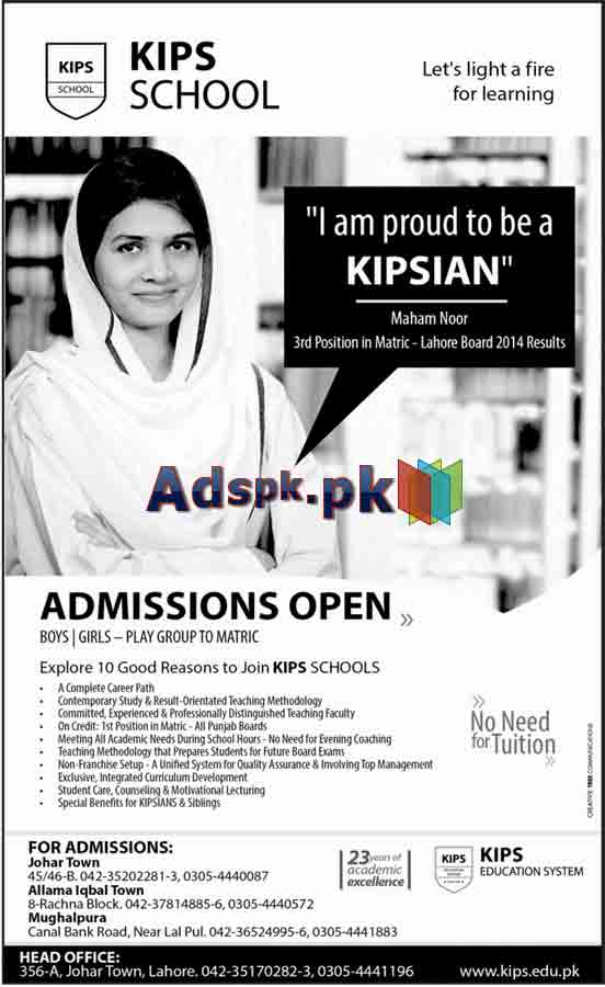 Admissions Open 2015 in KIPS School Lahore for Play Group