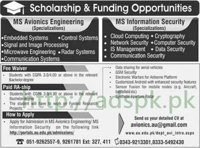 Air University Islamabad Scholarships 2017 MS leading to PhD Programs MS Avionics Engineering MS Information Security Specializations Monthly Stipend Fee Waiver Funding Opportunities Apply Online Now