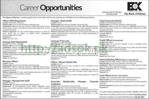 BOK Jobs Bank of Khyber 2017 Jobs for Officer SAM Recovery Officer Managers GBO Cash Officer Jobs Application Deadline 30-07-2017 Apply Online Now